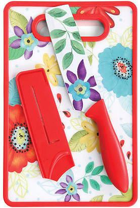 "Asstd National Brand Jordana 6"" Nakiri W/Sheath and Cutting Board, Red Floral Pattern"