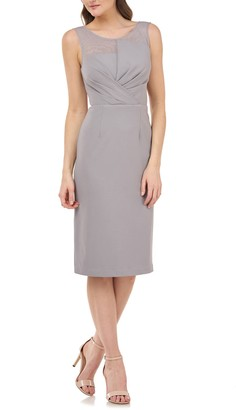 JS Collections Illusion Yoke Pleat Cocktail Dress