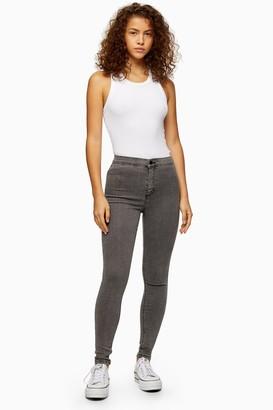 Topshop Womens Grey Wash Joni Jeans - Grey