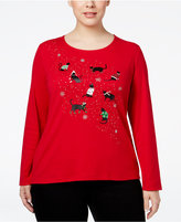 Karen Scott Plus Size Holiday Cat Graphic Top, Only at Macy's