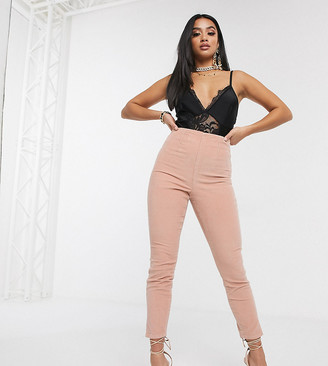 ASOS DESIGN Petite Rivington high waisted cord jegging in pink