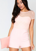 Missy Empire Nadine Pink Crochet Detail Playsuit