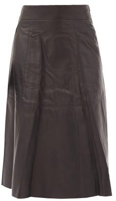 Nili Lotan Elaine Leather Midi Skirt - Black