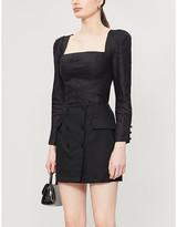 Reformation Easton button applique twill mini skirt