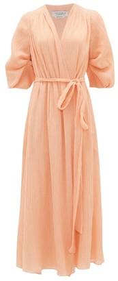 Gabriela Hearst Demeter Plisse Cotton-blend Chiffon Wrap Dress - Coral