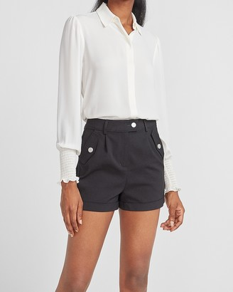 Express High Waisted Utility Pocket Rolled Hem Shorts