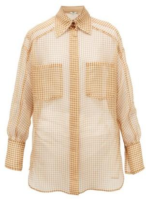 Fendi Vichy Silk-organza Shirt - Beige