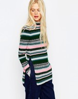 Asos Stripe Tunic With High Neck And Side Splits