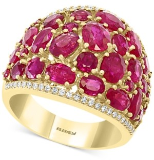 Effy Certified Ruby (6-5/8 ct. t.w.) & Diamond (1/5 ct.t.w.) Statement Ring in 14k Gold