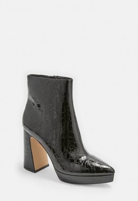 Missguided Black Faux Croc Pointed Toe Patent Ankle Boots