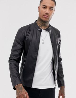 Armani Exchange faux leather jacket in black