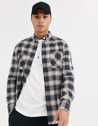 Burton Menswear long sleeve shirt in navy check-Blue