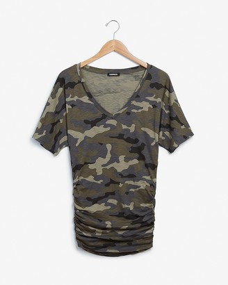 Express Camo Ruched Dolman Sleeve Tee