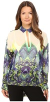 Versace Long Sleeve Printed High-Low Blouse Women's Blouse