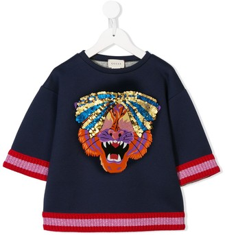 Gucci Kids Sequinned Bow Tiger Printed Top