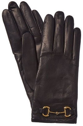Gucci Horsebit Cashmere-Lined Leather Gloves