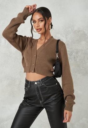 Missguided Mocha Basic Cropped Knit Cardigan