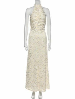 STAUD Printed Long Dress w/ Tags White