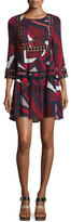 BA&SH Jane Abstract-Print Lace-Trim Dress