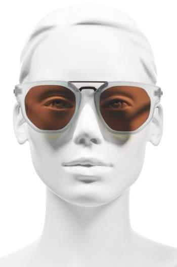 Le Specs Women's 'Thunderdome' 52Mm Sunglasses - Black Rubber/ Silver