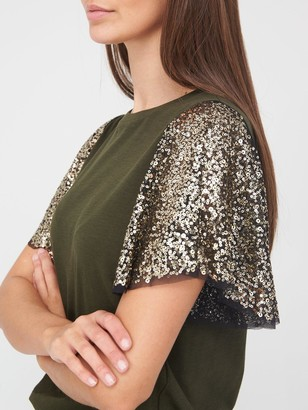 River Island Sequin Angel Sleeve T-Shirt - Khaki