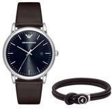 Emporio Armani Leather Strap Watch Gift Set, 43Mm