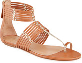 Aquazzura Ravello Gladiator Toe-Ring Flat Sandals