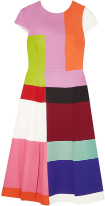 Mary Katrantzou Osmond Color-block Satin Midi Dress