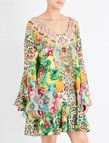 Camilla Cool Cat flared silk-georgette dress