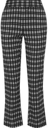 Diane von Furstenberg Clio Cropped Checked Woven Bootcut Pants