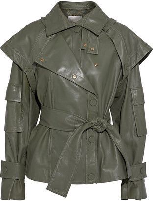 Zimmermann Tempest Belted Layered Leather Jacket