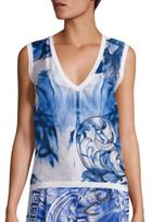 Versace Printed Silk & Cotton V-Neck Shell