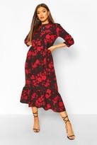 boohoo Woven Floral Drop Hem Midaxi Dress
