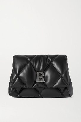 Balenciaga Touch Embellished Quilted Leather Clutch - Black