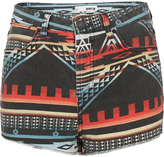 Topshop MOTO Indigo Aztec Denim Shorts
