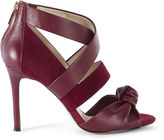 Karen Millen Leather And Suede Sandal - Dark Red