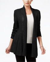 NY Collection Ribbed Open-Front Cardigan