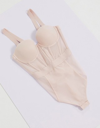 DKNY corset style strapless bodysuit in pink