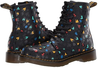 Dr. Martens Kid's Collection 1460 Hearts (Big Kid) (Black Multi) Girl's Shoes