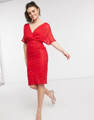 Girl In Mind lace batwing midi dress in red