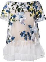 Erdem floral embroidered sheer top - women - Silk - 8