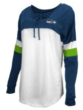 5th & Ocean Seattle Seahawks Women's Lace Up Long Sleeve T-Shirt