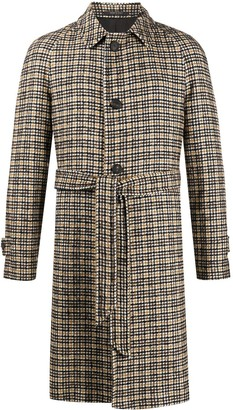 Tagliatore Knitted Check Patterned Coat