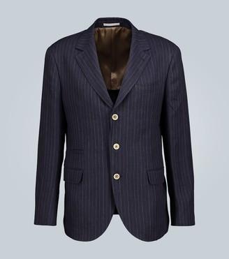 Brunello Cucinelli Unstructured pinstripe linen blazer