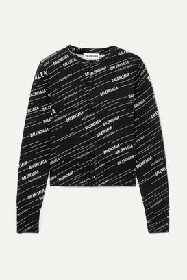 Balenciaga Intarsia Wool-blend Cardigan - Black