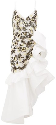 Rodarte Ruffled Floral-beaded Silk-blend Tulle Dress - White Multi