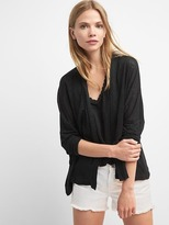 Linen batwing open-front cardigan