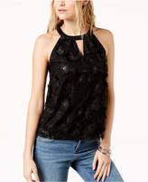 INC International Concepts I.n.c. Textured Lace-Front Halter Top, Created for Macy's