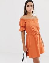 Asos Design DESIGN off shoulder mini sundress with puff sleeve