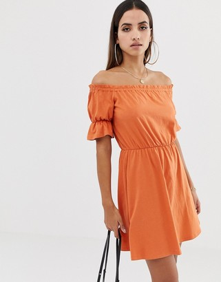 Asos Design DESIGN off shoulder mini sundress with puff sleeve-Orange